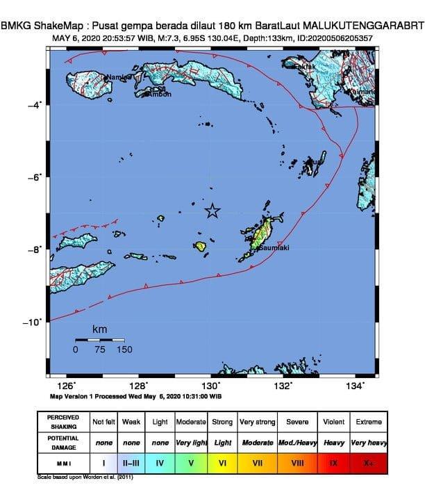 Gempa Magnitudo Di Maluku Tenggara Barat Tidak Berpotensi Tsunami